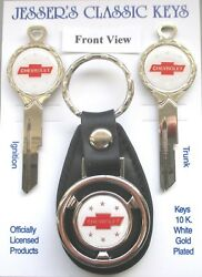 White Chevrolet Red Bow Tie White Gold B10 Deluxe Classic Key Set 1951 1952 1953