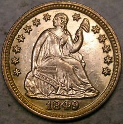 1849/846 Liberty Seated Silver Half Dime Beautiful Rare Repunched Date Fs-301