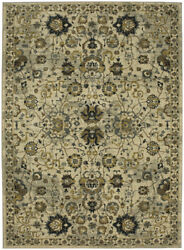 Karastan Beige Traditional-European Vines Bulbs Area Rug Floral 91514 90075
