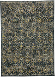 Karastan Blue Transitional Casual Distressed Bulbs Area Rug Floral 90939 50133