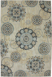 Karastan Ivory Circles Floral Bulbs Contemporary Area Rug Geometric 90268 471