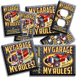 MY GARAGE RULES HOT ROD CAR LIGHT SWITCH OUTLET WALL PLATES ROOM MAN CAVE DECOR