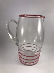 Vintage Clear Glass With Red Striped Design Pitcher