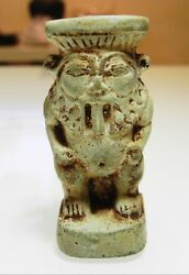 Zurqieh - As10010- Ancient Egyptian Large Faience Bes Figure. 600 - 300 B.c