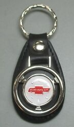 White Chevrolet Red Bow Tie Mini Steering Wheel Leather Keyring 1964 1965 1966