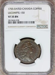 1755 Canada French Territories Louis Xv Copper Jeton - Ngc Vf 35 Bn Lecompte-150