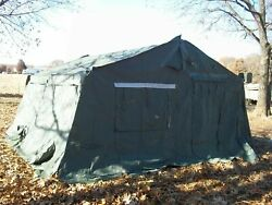 Military 16x16 Frame Tent Camping Hunting Vinyl Canvas With Stove Jack Us Army