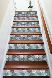 3d Abstract Floral 1 Tile Marble Stair Riser Decoration Vinyl Wallpaper Mural