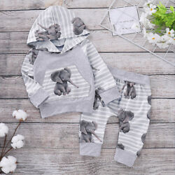 Newborn Baby Girl Boy Cute Cartoon Elephant Hooded Tops Pants Outfit Set Clothes