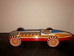 """Rare Vintage Marx Tin Litho Wind Up Indianapolis 500 Indy Race Car-works 16"""""""