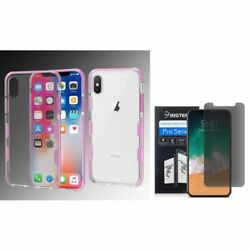 For Apple iPhone XS X Bumper Gel Rubber Cover Case wPrivacy Screen Protector