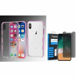For Apple iPhone XS X Bumper Gel Rubber Case Cover wPrivacy Glass Screen Film