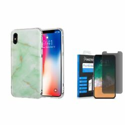 For Apple iPhone XS X Marble TPU Rubber Case Cover wPrivacy Glass Screen Film