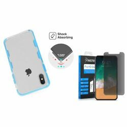For Apple iPhone XS X Bumper TPU Rubber Case Cover wPrivacy Glass Screen Film