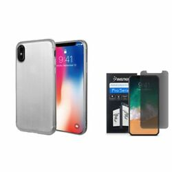 For Apple iPhone XS X TPU Rubber Gel Brushed Case wPrivacy Screen Protector