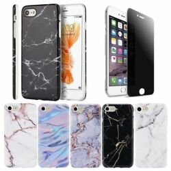 Marble Rubber TPU Back Case for iPhone 7  7 Plus + Privacy Tempered Glass Film