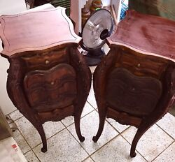 Antique French Pair Mahogany Nightstand Side End Table Cabinet Stunning