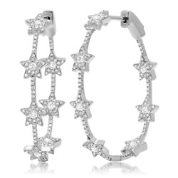 1.13ct 14k White Gold Natural Round Diamond Star Oval Hoop Fine Fashion Earrings