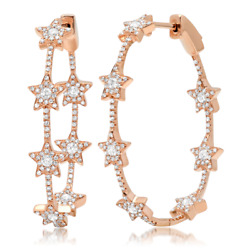 1.13ct 14k Rose Gold Natural Round Diamond Star Oval Hoop Earrings Fine Fashion