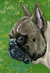 ACEO Original Tan French Bulldog Pet Dog Art Miniature Painting-Carla Smale