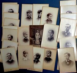 25 Cabinet Card Photo Lot Collection Fitchburg Massachusetts Ma 9 Women And 16 Men