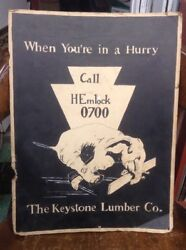 Vintage Cardboard Sign The Keystone Lumber Company Pittsburgh Pa Signed