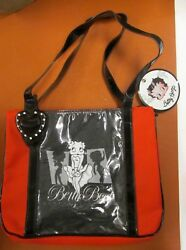 Betty Boop Black Red Timeless Beauty Tote Bag Zipper Straps Heart 2004