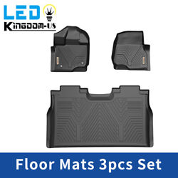All Weather Floor Mats Liners for 2015 2021 Ford F 150 Super Crew Cab Black TPE