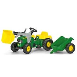 Rolly Toys John Deere Pedal Tractor W/ Working Front Loader And Detachable Trailer