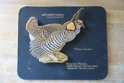 original Johnson Outboards Motors vtg Prairie Chicken cardboard dealer sign