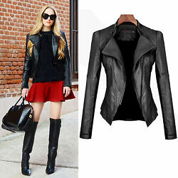 Women Winter PU Leather Jacket Coats Zip Up Biker Casual Flight Top Coat Outwear