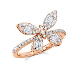 14k Rose Gold Diamond Butterfly Ring Baguette Round Cut Natural 0.97ct Cocktail