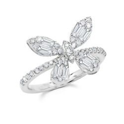 0.97 Ct White Gold Baguette Round Natural Real Diamond Butterfly Cocktail Ring