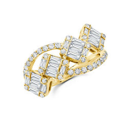 14k Yellow Gold Baguette Diamond Open Cocktail Ring Square Womens 1.12ct Natural