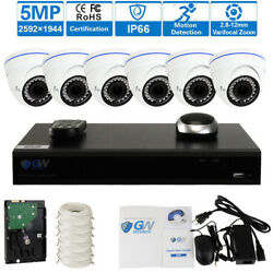8 Channel H.265 Nvr 6 X 5mp Varifocal Zoom Ip Poe Dome Security Camera 2t Hd