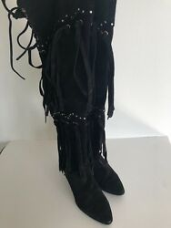 SOLD OUT $2070 Giuseppe Zanotti Fringe Suede Over the Knee Boot in Black
