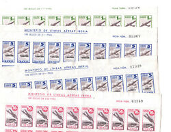 SPAIN CHARITY STAMPS OF IBERIAN AIRLINES 4 DIFFERENT PLATE BLOCKS OF 20 MNH