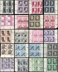 US #1278-1295 set MNH Prominent Americans 20 plate blocks of 4 issued 1965+