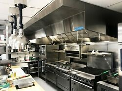 6and039 Commercial Kitchen Wall Canopy Hood Exhaust Fan And Supply Fan Package