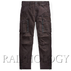 Double Rrl Mens Black Distressed Washed Slim Military Cargo Pants