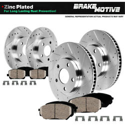 Front & Rear Drill Slot Brake Rotors And Ceramic Pads For 02 - 04 Camry SE XLE
