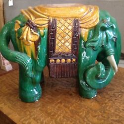 Lager Chinese Tang Sancai Pottery Yellow Brown Green Glazed Elephant Statue