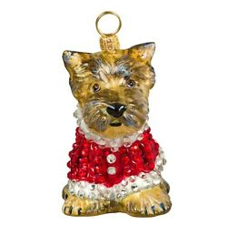 Yorkshire Terrier Puppy in Crystal Coat Polish Blown Glass Christmas Ornament