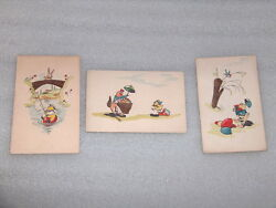 3 Vintage Antique Hand Painted Easter Day Cards, Bulgaria