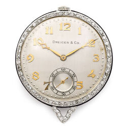 Antique Dreicer And Co Platinum And Diamond Pocket Watch 19 Jewel 42.11mm Very Rare