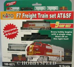 Kato N Scale F7 Freight Train Set Atandsf Engine And 4 Cars Locomotive 106-6271 New