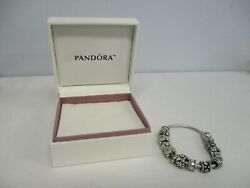 Pretty Pandora Sterling Silver Charm Bracelet Lots Of Charms With Box