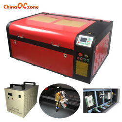 6090 100w Laser Cutter Engraving Machine And Cw-3000 Water Chiller And Rotary Axis