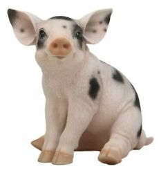 Large Adorable Realistic Animal Farm Babe Spotted Pig Piglet Statue 9h Decor