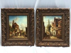 German Village Paintings By Kürtz, Oil On Canvas, Framed